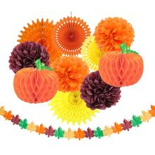 11 Pcs/set Thanksgiving Day Set Fall Harvest Decorations Honeycomb Pumpkin Maple Leaf Flower Garland Decor Party Supplies