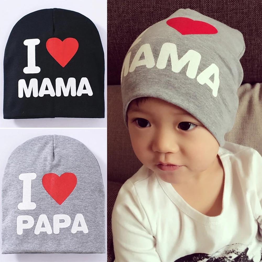 Autumn Winter Baby Skull Cap I Love Mama Papa Letter Print   Beanie   Soft Elastic Toddler Kids Hat for Boys Girls