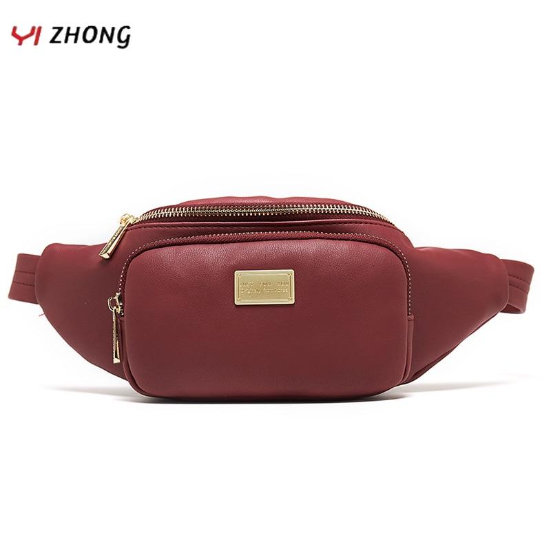 YIZHONG New Women Waist Bag Leather Fanny Pack Large Capacity Fashion Chest Bag Travel Belt Bag High Quality Crossbody Bag