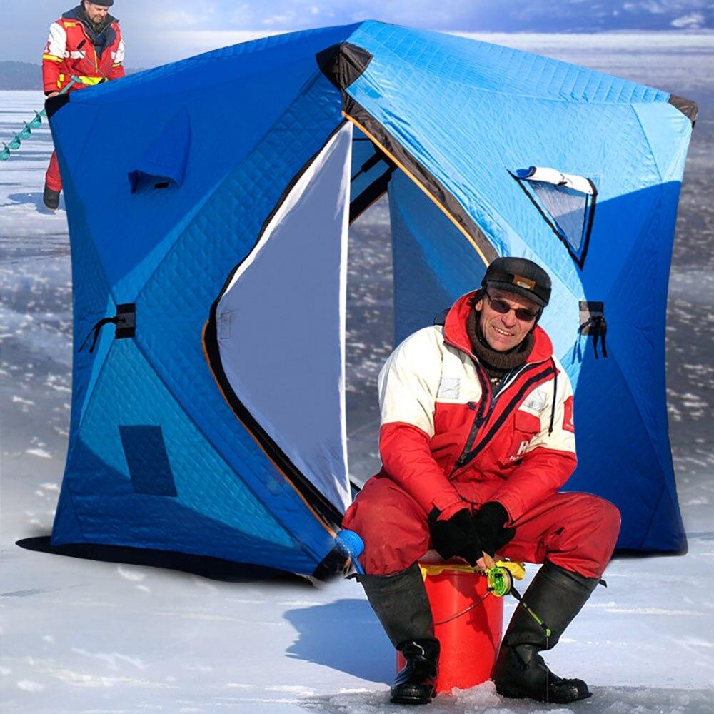 Automático livre construir velocidade grande espaço 2 pessoas rápido-aberto push-pull mais algodão quente ao ar livre inverno pesca no gelo espessamento tenda