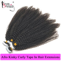 Afro Kinky Curly Tape In Human Hair Extensions Skin Weft Adhesive Invisible Mongolian Natural Black Hair Extensions Ever Beauty