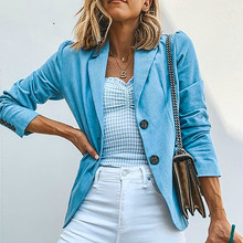 Womens Blazer Solid Turn Down Collar Jacket Long Sleeve Coat Parka Outerwear Work Jackets Autumn Winter Button Female Coats 2019