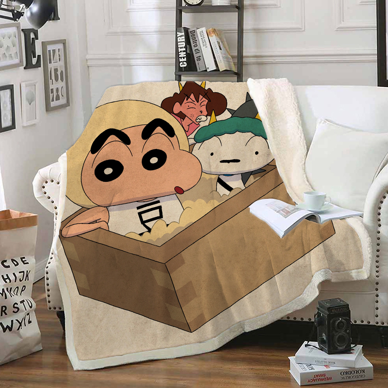 Anime Crayon Shin-chan Funny Character Blanket 3D Print Sherpa Blanket on Bed Home Textiles Dreamlike Style 09
