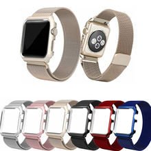 цена на Case+strap for Apple Watch 4 band 44mm 40mm for iWatch band 42mm 38mm Milanese loop bracelet Wristband for apple watch 5 4 3 2 1