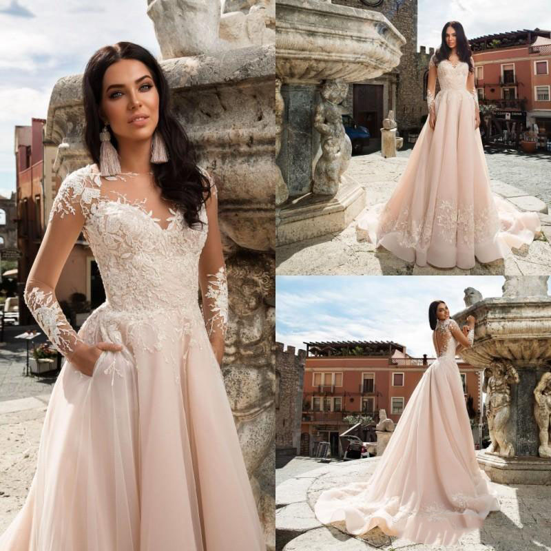 Sevintage Bohemian A Line Sheer O Neck Wedding Dresses Long Sleeve Lace Boho Bridal Gowns Court Train Wedding Gowns Bridal Dress Buy At The Price Of 117 59 In Aliexpress Com Imall Com,Wedding Reception Simple Nikkah Dresses For Bride
