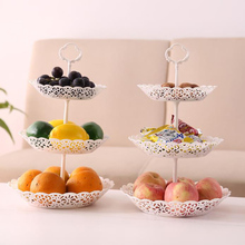 Three-layer Fruit Plate Set Cake Dessert Rack Plates Hollow European Wedding Party Fruit Basket Removable Snack Candy Tray