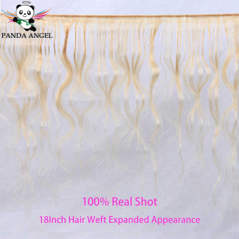 Panda 613 loira pacotes com fechamento brasileiro #613 3 pacotes com fechamento de renda frontal extensão do cabelo humano tecer pacotes remy