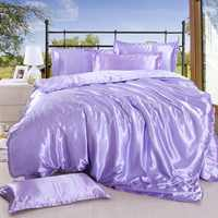 1pcs Solid color Duvet cover Ice silk satin Fabric Single Double Queen King size Quilt Cover Soft Comfortable Home Bedding