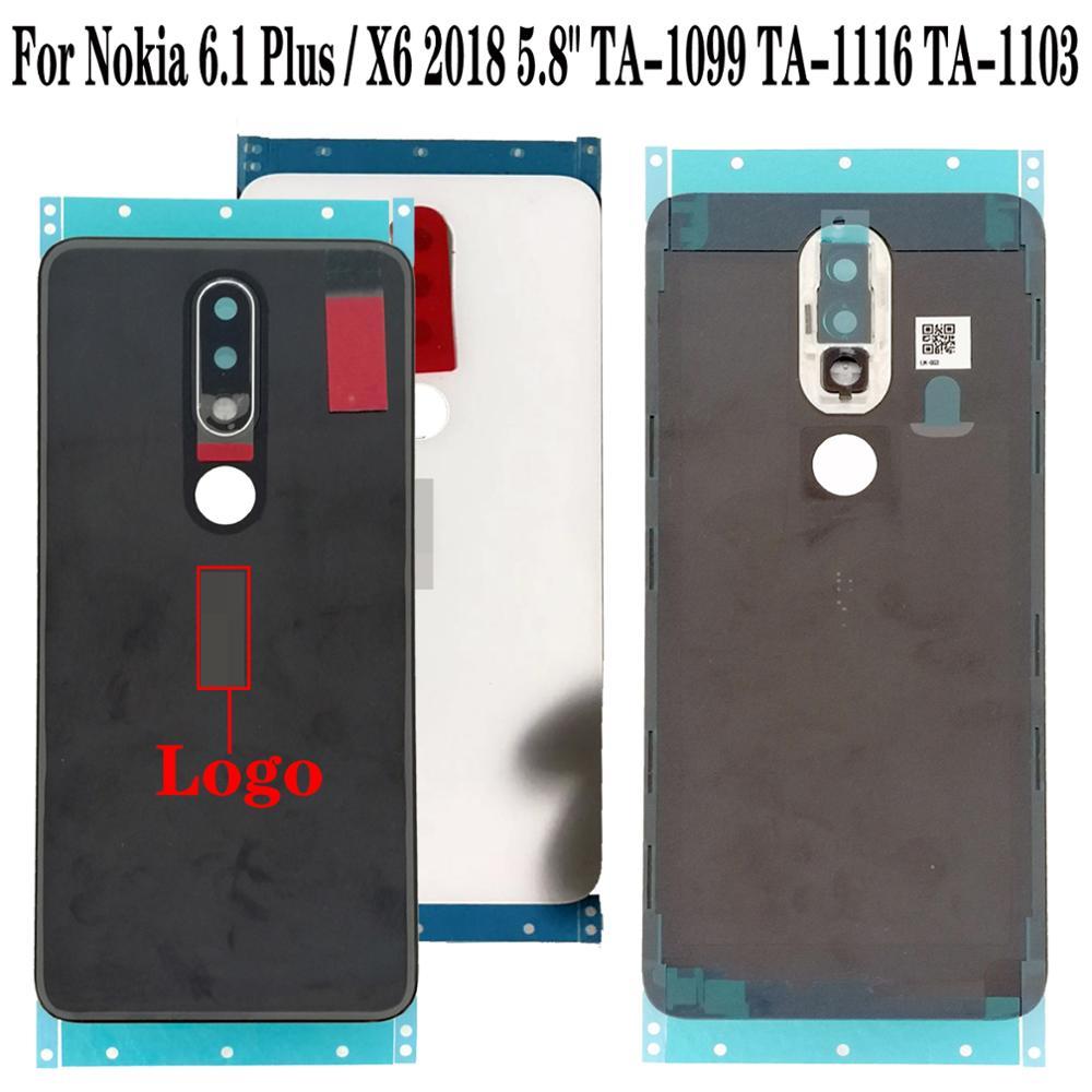 "Shyueda 100% Original New For Nokia 6.1 Plus X6 5.8"" TA-1083 TA-1099 TA-1116 TA-1103 Glass Rear Back Door Housing Battery Cover(China)"