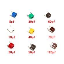 45 шт., набор конденсаторов с регулируемым триммером JML06, 5pf, 10pf, 20pf, 30pf, 40pf, 50pf, 60pf, 70pf, 120pf, регулируемый комплект конденсаторов