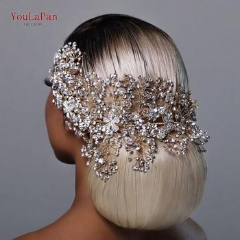 YouLaPan HP240 złote akcesoria do włosów dla panny młodej kryształowe ślubne biżuteria do włosów Fascinator na ślub Rhinestone ślubne Tiara tanie i dobre opinie CN (pochodzenie) Metal Z pałąkiem na głowę Dla dorosłych Silver Golden rhinestone alloy flower 15 5*32CM 6 10*12 59IN