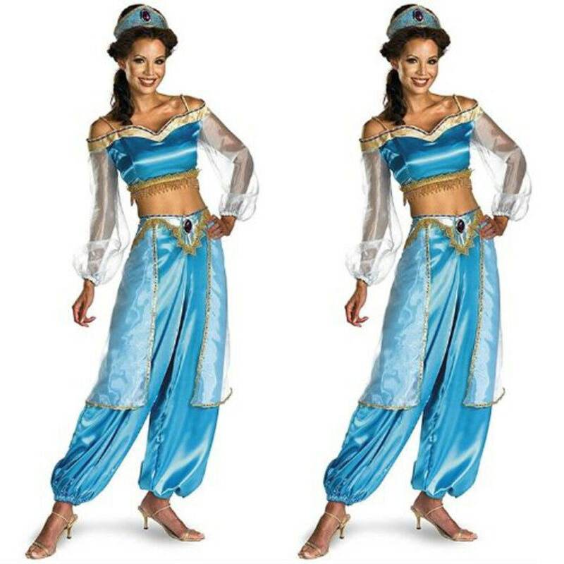 Aladdin Princess Jasmine Adult Suit Cosplay Sets Halloween Party Costume Blue For Women Girls Carnival