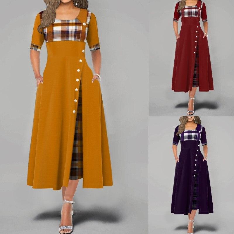 2021 Women Elegant Long Dress Summer Vintage Plaid Print Party Dresses Office...