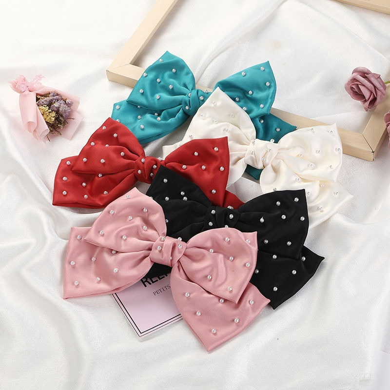 Oversized Pearl Bow Hair Clip Korean Style Woman Bowknot Hairpins Girls Headdress Hair Accessories