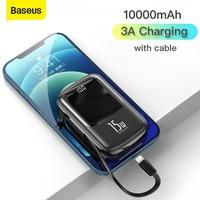 Baseus 10000mAh Mini Power Bank cavi integrati PowerBank caricabatterie esterno per iPhone 12 11 Pro Xiaomi Samsung Huawei