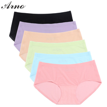 ARNO 6 Colors Ultra-Thin Traceless Briefs For Female, Sexy Women Underwear Seamless Briefs,Solid Low Waist Panties Ladies 6003-1