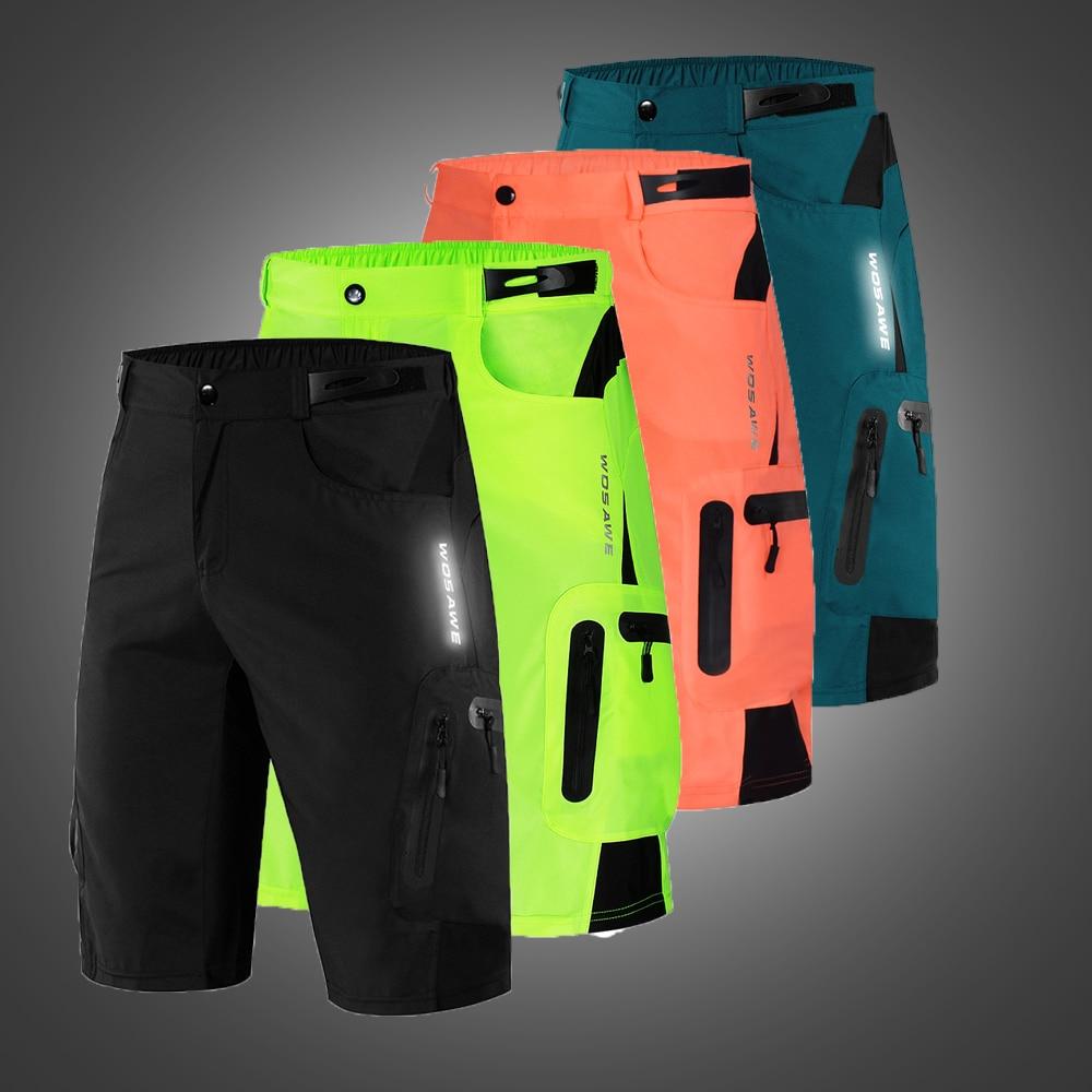 WOSAWE Men Loose Cycling Shorts Gel Pad Running Bike Bicycle Leisure Downhill Clothing MTB Water Resistance Sports Short Summer
