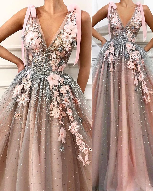 Evening     Dresses   Long A Line 3D Floral Appliques Sleeveless Tulle Pink Sexy Tulle Prom Gowns 2019 Deep V Neck For Women Plus Size