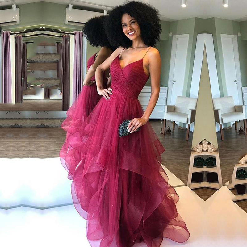 Burgundy Prom Dresses V-Neck Spaghetti Strap Pleats A-Line Tulle Custom Made Party Gowns Backless Evening Dress for Graduation