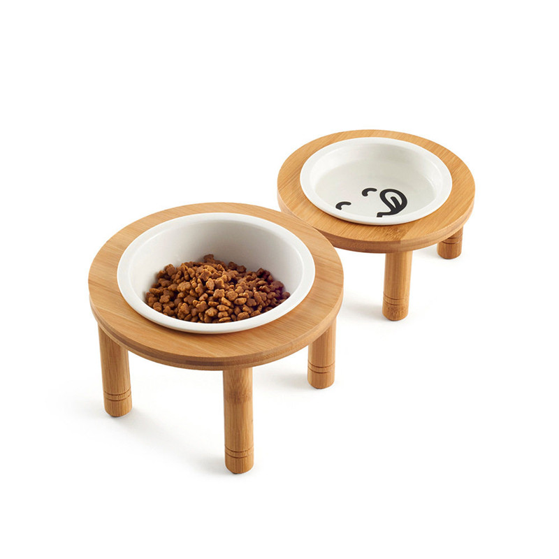 Cat dog bowls, ceramic cat dogs, water food bamboo small raised pet feeder image