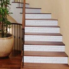 Водонепроницаемый наклейка для лестницы белый 3D фон съемные стенки 18*100 см 6 шт./партия