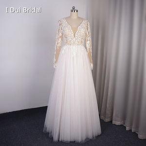 Image 1 - Long Sleeve V Neck Shinny Wedding Dress With Sparkle Tulle Lace Appliqued Floor Long Dancing Bridal Gown 2020 New Design