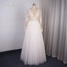 Vestido de noiva com gola v manga comprida, vestido de casamento brilhante com renda transparente, aplique piso longo dança, novo design de 2020