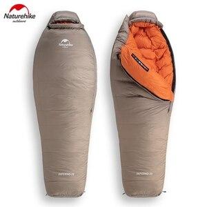 Image 1 - Naturehike Weiße Gans Unten Schlafsack Mummy 750FP Erwachsene Winddicht Wasserdicht Für Outdoor Camping Und Wandern NH19YD004