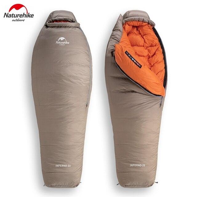 Naturehike saco de dormir de ganso blanco para adulto, a prueba de viento, impermeable, para acampar al aire libre y senderismo NH19YD004