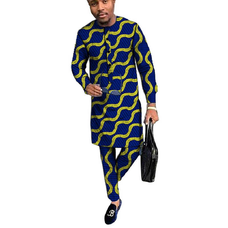 Customized <font><b>men</b></font> <font><b>African</b></font> print <font><b>shirt</b></font>+pant set clothing long sleeve top with trouser 2 pieces long style man <font><b>shirts</b></font> by <font><b>African</b></font> <font><b>wax</b></font> image