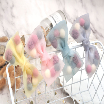 Side Clip New Princess Style Colorful Plush Ball Net Yarn Lace Bow Duck Bill Clip Small Fresh Hair Accessories New Arrive Hot S image