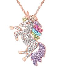 5COLOR ROSE GOLD Fashion jewelry Crystal from Swarovski Sky Horse Necklace Micro Inlay Unicorn Pendant Mother's Day gift(China)