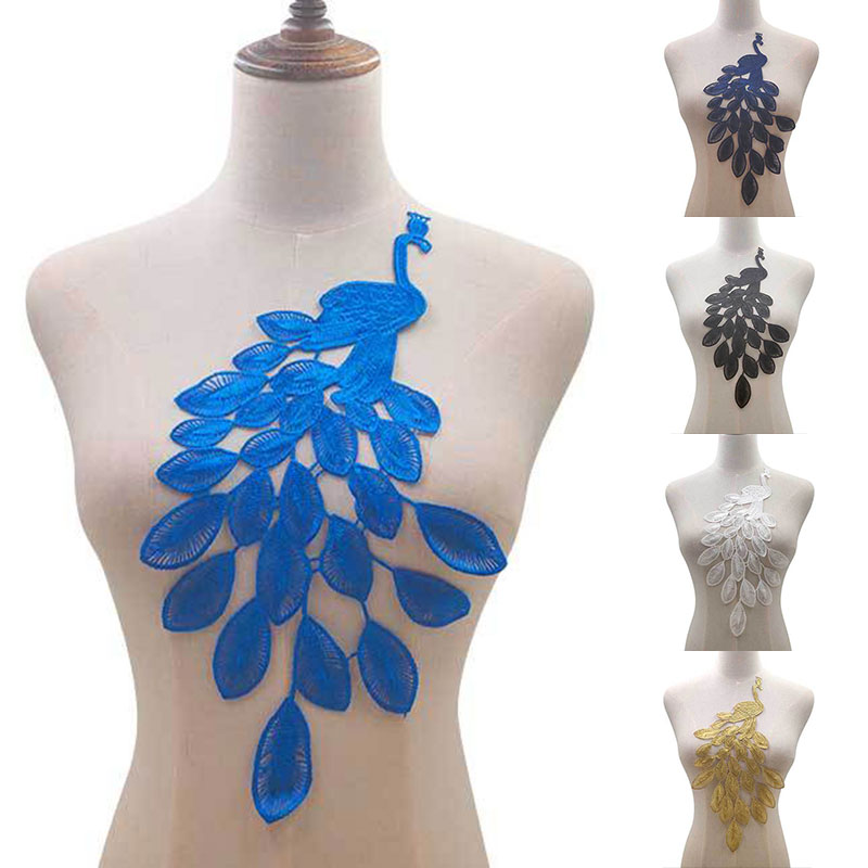 Hot Sale Water-soluble Lace Cloth Stickers Peacock Pattern Hollow Embroidery DIY Lace Accessoriese 2019 New Arrival