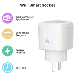 EU Smart Wifi energy Power meter Plug with Power Monitor Smart Home Wifi Wireless Socket Outlet Works with Alexa Google Home