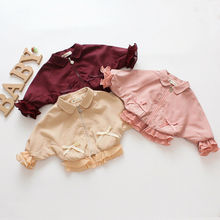 Autumn Winter Baby Girl Fashion Coats Jackets Lace Petals Bow Long Sleeve Zipper Doll Collar Coats Outerwear