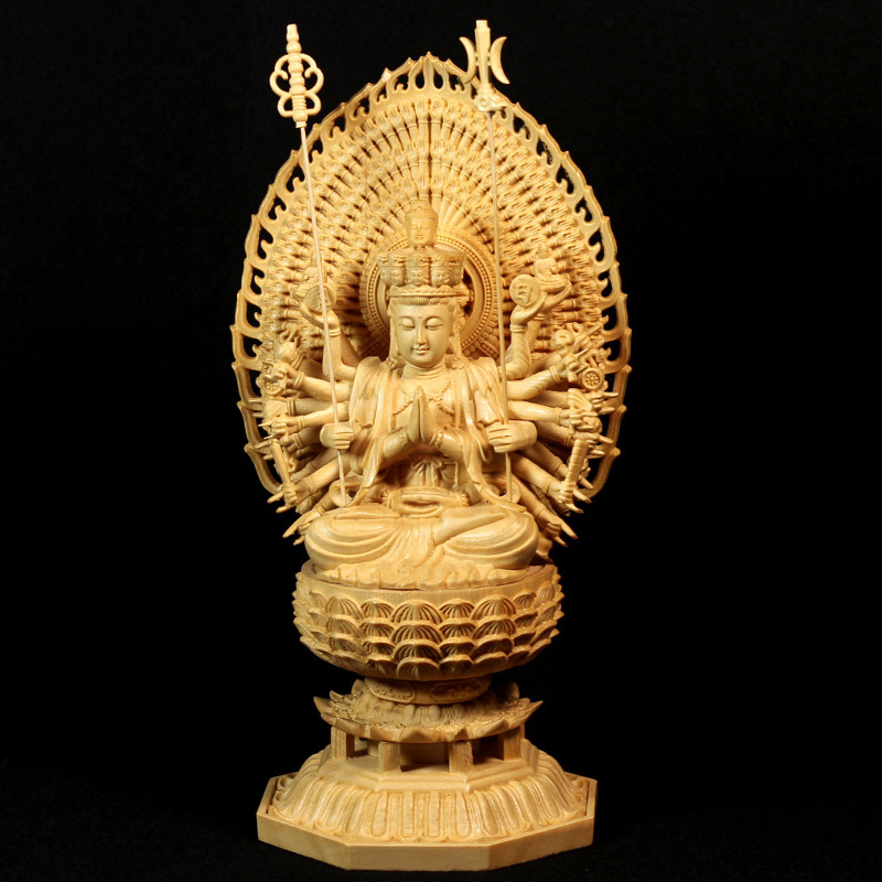 Carved Buddha Statue Thousand Arms Guanyin Statue Solid Goddess Wood Feng Shui Statues Wooden Statue for Decorations 28CM