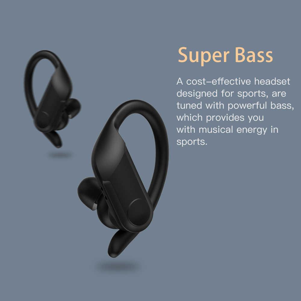 Wavefun Bluetooth Kopfhörer Drahtlose Kopfhörer 8Hrs Pro Ladung Super Bass IPX5 Wasserdicht mit Mic Ohr Haken für Smartphones