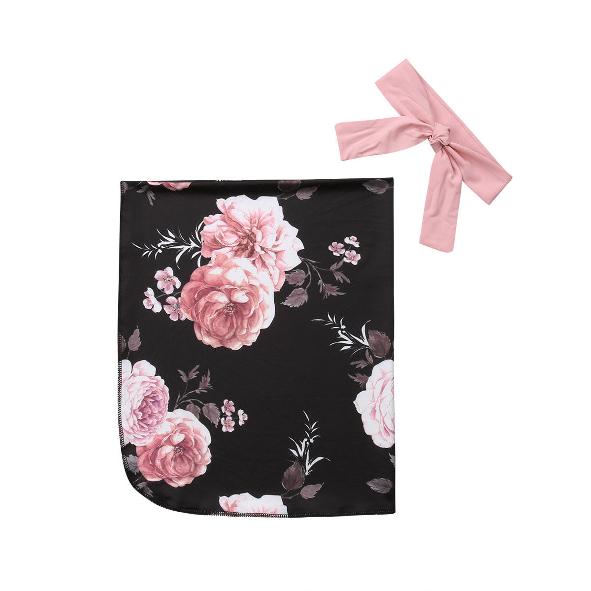 Newborn Swaddle Blanket Baby Swaddling Floral Muslin Wrap +Headband 2Pcs Outfits Cotton Infant Wrap