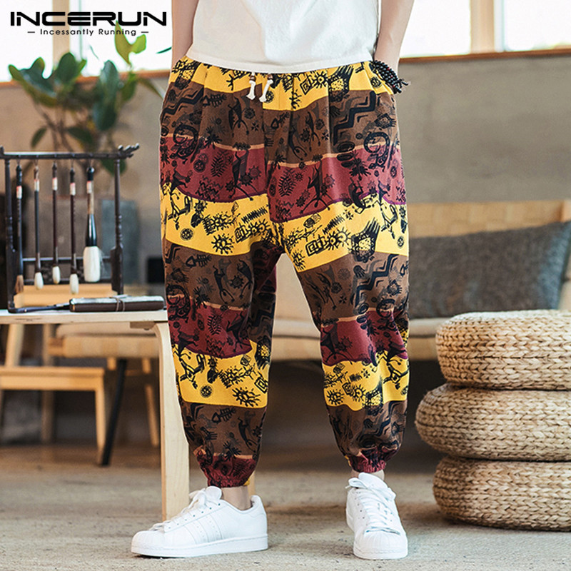 INCERUN Men Harem Pants Joggers Printed Drawstring Drop-Crotch Trousers Men 2020 Loose Chic Streetwear Cotton Casual Thai Pants