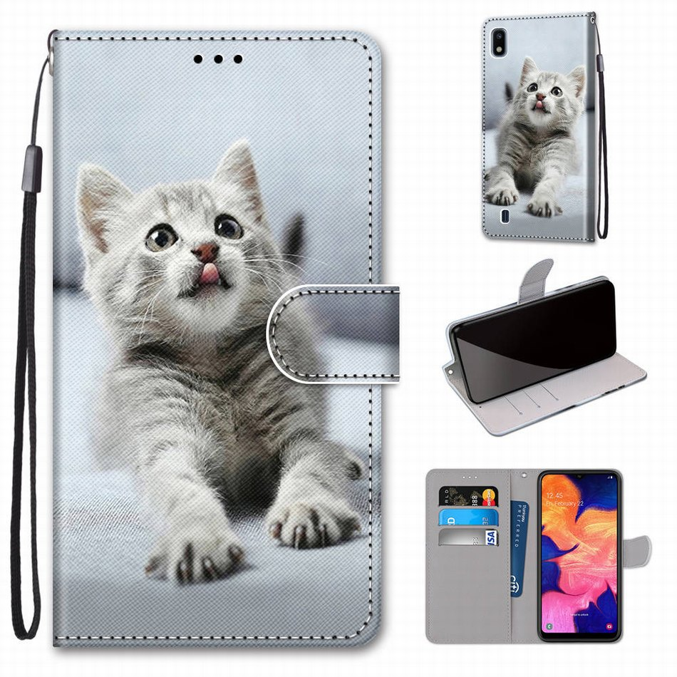 Card Pocket Kids Leather Case For Redmi Note 8T Redmi K30 8 8A Book Style Phone Bag Footprint Cat Tiger Wolf Boy Girl Coque P08F
