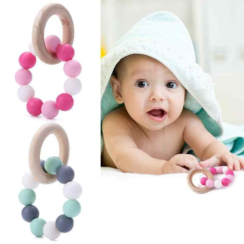 Silicone Teether Toy Baby Nursing Training Bracelets Wooden Ring Necklace Accessories Infant Chew Silicone Beads Beads Pacifier