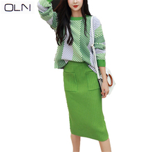 OLN Autumn Korean 2019 New arrival Suit skirt female autumn dress goddess fashion Hong Kong flavor lazy wind knitted two-piece