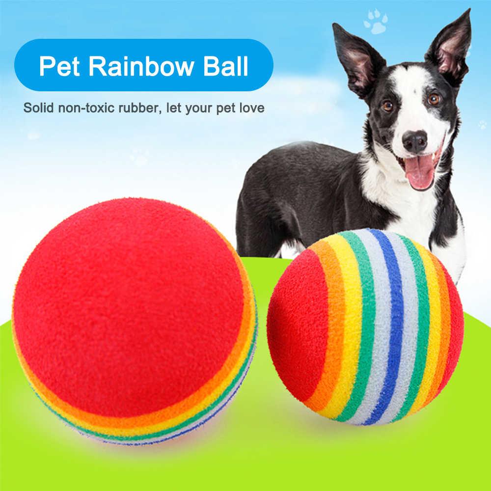3.5 Cm Pelangi Bola Anjing Mainan untuk Anjing Kecil Bola Anjing Interaktif Mainan Bermain Mengunyah Rattle Bola Pelatihan Anjing Bola persediaan Hewan Peliharaan