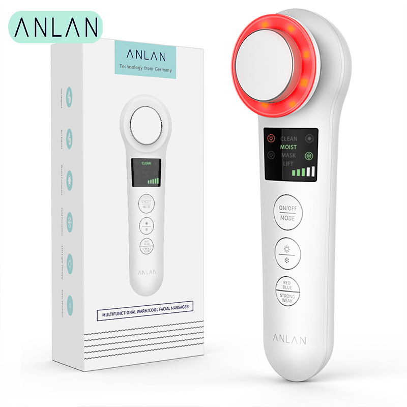 ANLAN Iontophoresis LED Color EMS Beauty Instrument Ultrasonic Microcurrent Import Reduce Wrinkle Face Lifting Massage Tools