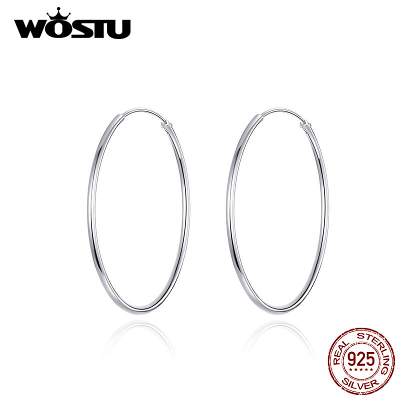 WOSTU 100% 925 Sterling Silver Big Circle Hoop Earrings Minimalist Simple Round Earrings For Women Fashion Party Jewelry CQE710