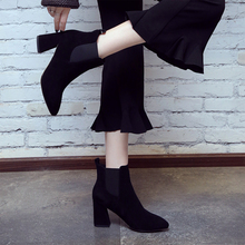 2019 winter new leather and ankle thick high-heeled boots female pointed cow cashmere work fashion elastic