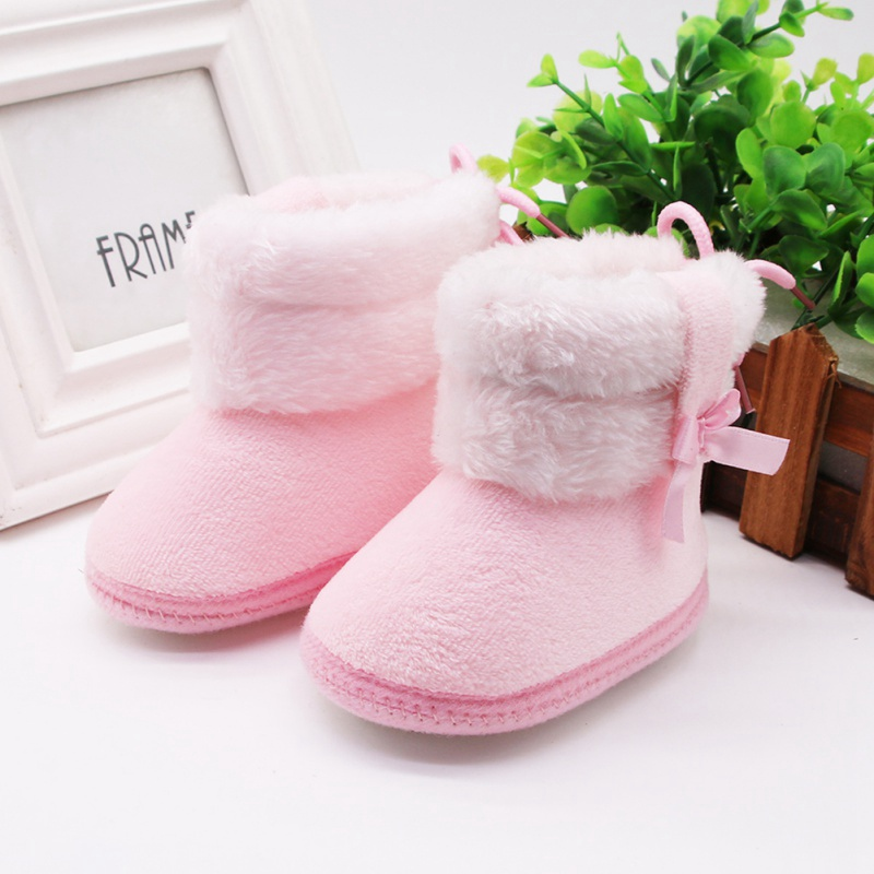 Autumn Winter Snow boots Infants Shoes Baby Girl Boy Bow Knot Baby Boots Casual Sneakers Non-slip Soft Soled Walking Shoes