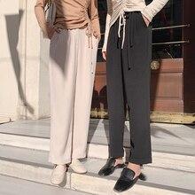 MISHOW, Осенний повседневный костюм, брюки, женская мода, высокая талия, кружевные прямые длинные штаны MX19C2101