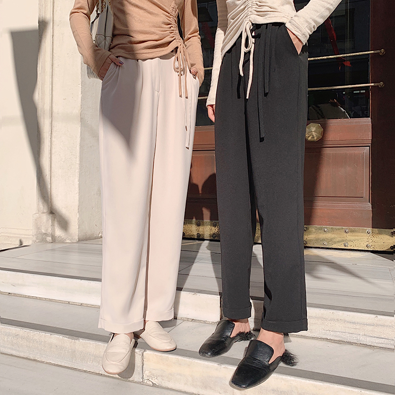 MISHOW 2019 Autumn Causal Suit Trousers Women Fashion High Waist Lace Straight Long Pants MX19C2101