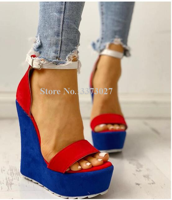 New Mixed Color Suede Platform Wedge Sandals Women Fashion Ankle Strap Concise Style Rome Gladiator Sandals Lady Dress Sandals